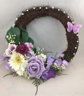 FRONT DOOR VINTAGE TWIG WREATH FLOWERS BROOCHES PEARLS LILAC PURPLE WALL DECOR